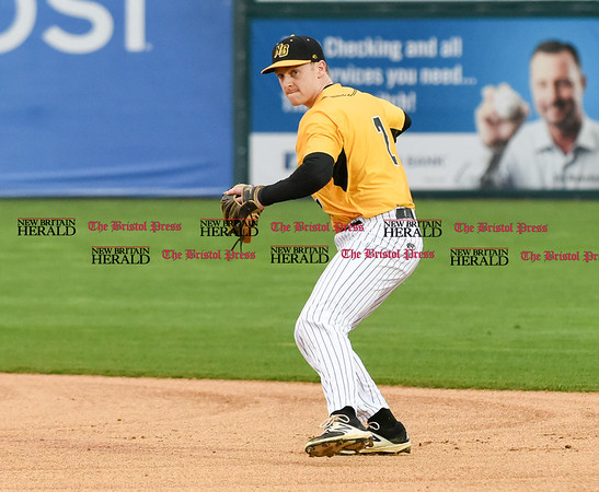 042717 Wesley Bunnell | Staff The New Britain Bees vs the Lancaster Barnstormers played on Thursday evening. Jake McGuiggan (2) fields and throws to first base for the out.