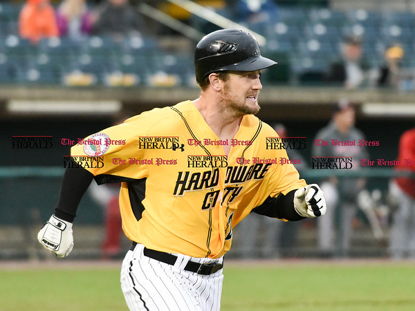 042717 Wesley Bunnell | Staff The New Britain Bees vs the Lancaster Barnstormers played on Thursday evening. Conor Bierfeldt (28) runs down the first base line on a deep fly ball to right center field.