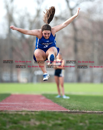 4/11/2017 Mike Orazzi | Staff Bristol Eastern's Julianna Larue in the long jump at Bristol Eastern.