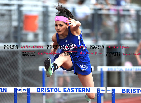 4/11/2017 Mike Orazzi | Staff Bristol Eastern's Jenalle Tobon during Tuesday's track meet.