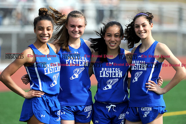 4/11/2017 Mike Orazzi | Staff Bristol Eastern runners Vanessa Floyd, Megan Perry, Mikayla Lewandoski and Kailey Laprise.