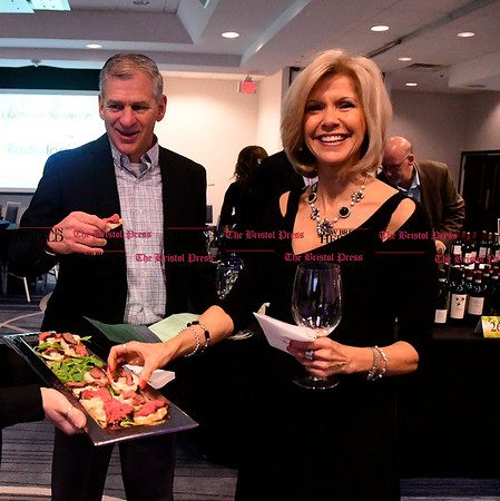 4/1/2017 Mike Orazzi | Staff Gary Sassu and Rita Joy during the Bristol Hospital Development Foundation's Festival of Wines & Spirits held at the DoubleTree by Hilton in Bristol Saturday night. The money raised this year will go toward a future renovation project at the hospitals Emergency Center.