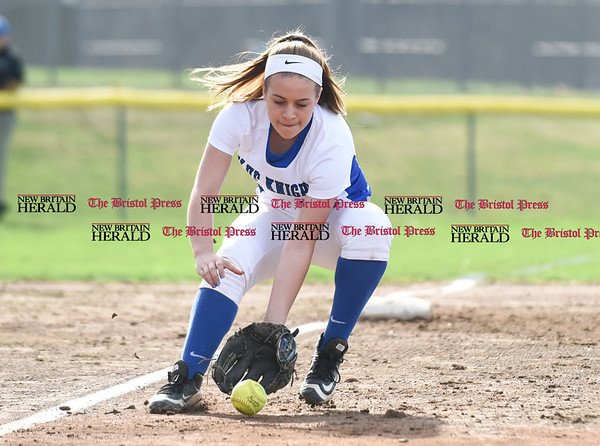 041217 Wesley Bunnell | Staff Southington High School softball defeated South Windsor 3-1 on Wednesday afternoon. Tori Aldieri (12) fields a ground ball to third.