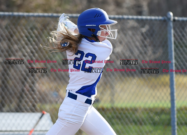 041217 Wesley Bunnell | Staff Southington High School softball defeated South Windsor 3-1 on Wednesday afternoon. Chrissy Marotto (22).