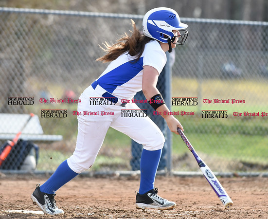 041217 Wesley Bunnell | Staff Southington High School softball defeated South Windsor 3-1 on Wednesday afternoon. Frankie Ferrante (5).