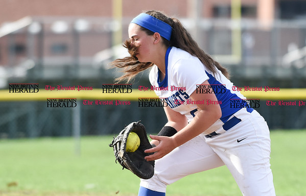 041217 Wesley Bunnell | Staff Southington High School softball defeated South Windsor 3-1 on Wednesday afternoon. Frankie Ferrante (5) fields a ball to first base for the out.