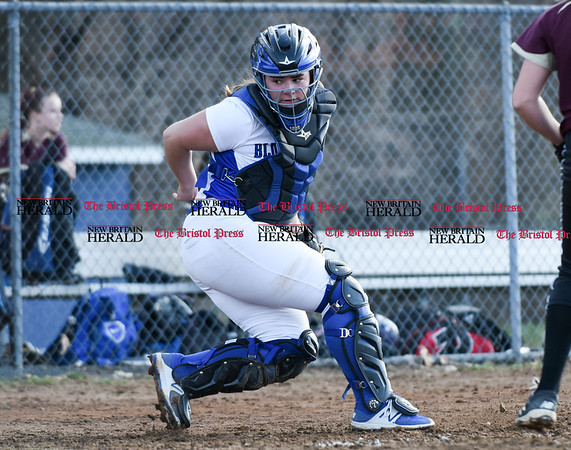 041217 Wesley Bunnell | Staff Southington High School softball defeated South Windsor 3-1 on Wednesday afternoon. A ball in the dirt gets past catcher Maighread Scafariello (9).