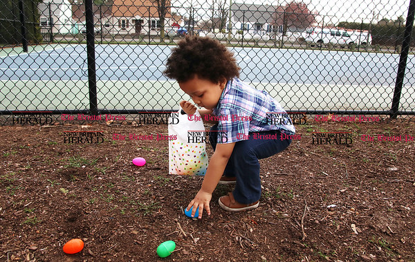 Licensed childcare providers gathered at Stocks Playground with the children in their care, including Brandon Banton, for a visit from the Easter Bunny and an Easter egg hunt.