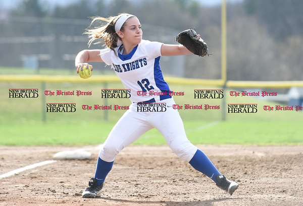 041217 Wesley Bunnell | Staff Southington High School softball defeated South Windsor 3-1 on Wednesday afternoon. Tori Aldieri (12) fields a ground ball to third and make the throw in time for the out.