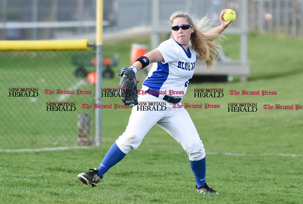 041217 Wesley Bunnell | Staff Southington High School softball defeated South Windsor 3-1 on Wednesday afternoon. Katie Semmel (8) tracks down a double to right field.