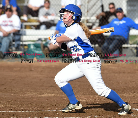 041217 Wesley Bunnell | Staff Southington High School softball defeated South Windsor 3-1 on Wednesday afternoon. Amanda Delorme (23).