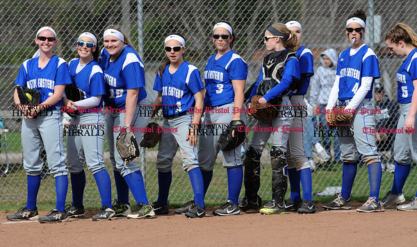4/13/2017 Mike Orazzi | Staff Bristol Eastern's during Thursday's softball with Northwest Catholic in Bristol.
