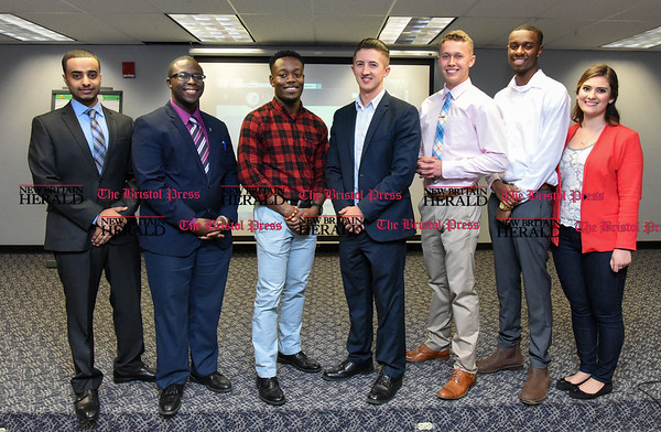 041317 Wesley Bunnell | Staff Students from CCSU gave business presentations during the Stanley Black and Decker Business Plan Competition at the ITBD on Thursday evening. Students involved in the competition are from left Ebrahim Ali, Joshua Fritho, Elijah Amoah, Jared Lockart, Chris Messier, Breylin Jones and Darian Carter.
