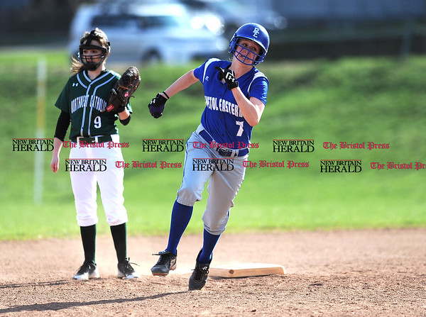 4/13/2017 Mike Orazzi | Staff Bristol Eastern's Makenzie Jankowski (7) during Thursday's softball with Northwest Catholic in Bristol.