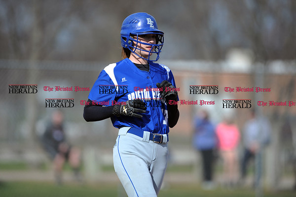 4/13/2017 Mike Orazzi | Staff Bristol Eastern's Erin Girard (13) during Thursday's softball with Northwest Catholic in Bristol.