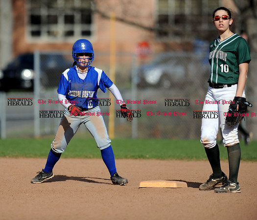 4/13/2017 Mike Orazzi | Staff Bristol Eastern's Jill Maghini (6) during Thursday's softball with Northwest Catholic in Bristol.