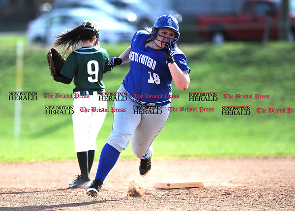 4/13/2017 Mike Orazzi | Staff Bristol Eastern's Mikayla Martin (18) during Thursday's softball with Northwest Catholic in Bristol.
