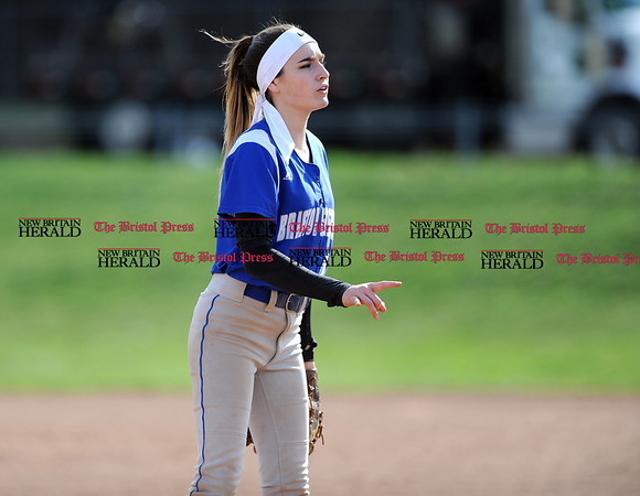 4/13/2017 Mike Orazzi | Staff Bristol Eastern's Jordan Fitzsimons (10) during Thursday's softball with Northwest Catholic in Bristol.