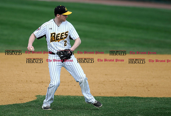 4/15/2017 Mike Orazzi | Staff New Britain Bees' Jake McGuiggan (2) Saturday at New Britain Stadium.