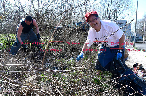 4/15/2017 Mike Orazzi   Staff Edna Colon cleans up on Oak Street during the The North Oak-Neighborhood Revitalization Zone community cleanup Saturday. In the background is Jon Zipadelli.