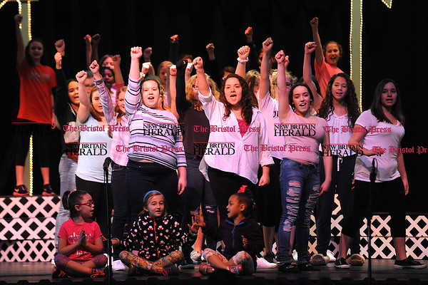 4/15/2017 Mike Orazzi   Staff OM Show cast members from the Teen Chorus during rehearsal at St. Paul Catholic High School on Saturday while preparing for next weekends' shows.
