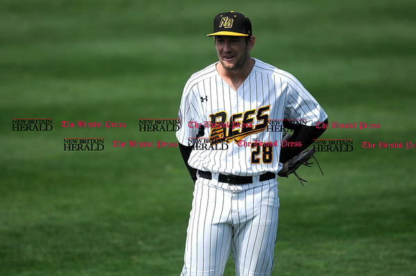 4/15/2017 Mike Orazzi | Staff New Britain Bees' Conor Bierfeldt (28) Saturday at New Britain Stadium.