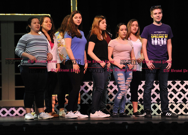 4/15/2017 Mike Orazzi | Staff OM Show cast members from the Teen Chorus during rehearsal at St. Paul Catholic High School on Saturday while preparing for next weekends' shows. b