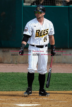 4/15/2017 Mike Orazzi | Staff New Britain Bees' Craig Maddox (24) Saturday at New Britain Stadium.