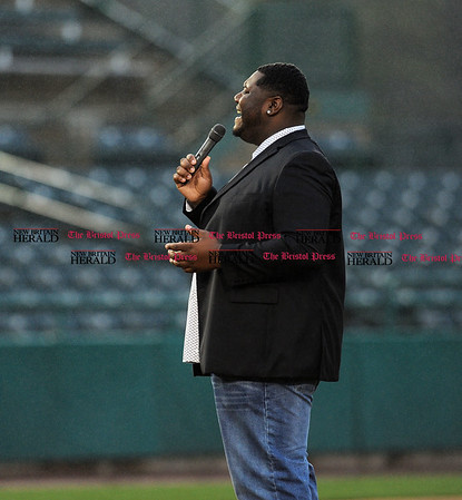 4/21/2017 Mike Orazzi | Staff Jay Myles sings the &quote;Star Spangled Banner&quote; on opening night at New Britain Stadium Friday night.