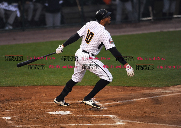 4/21/2017 Mike Orazzi | Staff New Britain Bees' Mike Crouse (10) on opening night at New Britain Stadium Friday night.