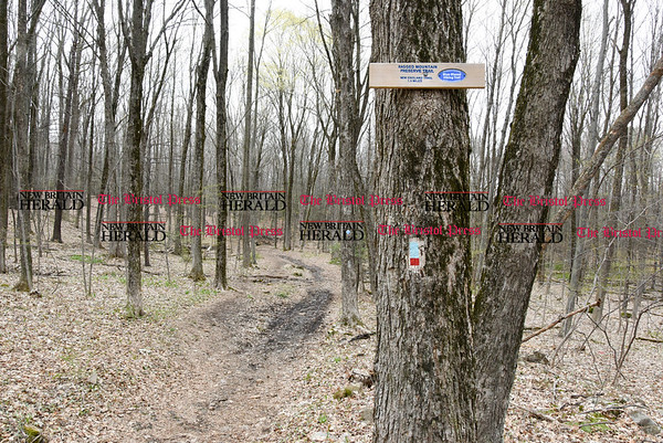 042017 Wesley Bunnell | Staff Hiking trails at Ragged Mountain Memorial Preserve in Berlin.