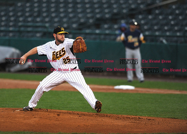 4/21/2017 Mike Orazzi | Staff New Britain Bees' Casey Coleman (25) on opening night at New Britain Stadium Friday night.
