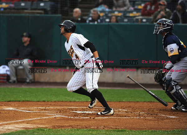 4/21/2017 Mike Orazzi | Staff New Britain Bees' Steve Carrillo (4) on opening night at New Britain Stadium Friday night.