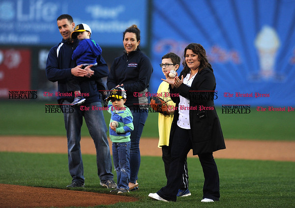 4/21/2017 Mike Orazzi | Staff New Britain Mayor Erin Stewart before throwing out one of the first pitches on opening night at New Britain Stadium Friday night.