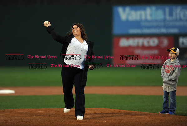 4/21/2017 Mike Orazzi | Staff New Britain Mayor Erin Stewart throws out one of the first pitches on opening night at New Britain Stadium Friday night.