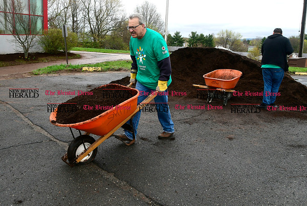4/22/2017 Mike Orazzi | Staff Ernie Magaro spreads mulch during the 16th annual Comcast Cares Day at the Smith Elementary School in New Britain Saturday.