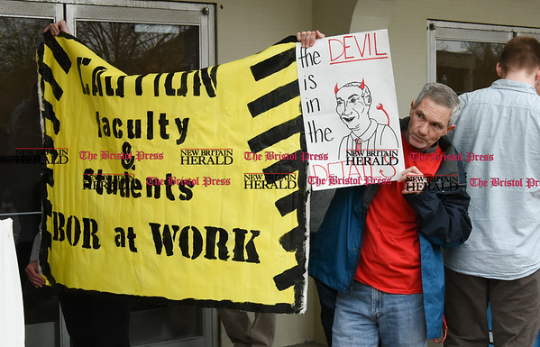 042517 Wesley Bunnell   Staff Facing budget cuts from the State of CT students and faculty organized a protest against CSCU's President Mark Ojakian's budget proposal which they fear would weaken the CCSU campus.