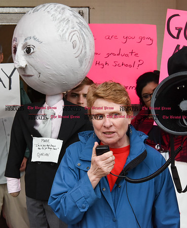 042517 Wesley Bunnell | Staff Facing budget cuts from the State of CT students and faculty organized a protest against CSCU's President Mark Ojakian's budget proposal which they fear would weaken the CCSU campus. CCSU History Professor Kathy Hermes addresses the crowd.