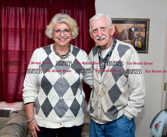 4/25/2016 Mike Orazzi   Staff Geri Bentley while visiting her long lost half brother Bob Chikoski in Terryville Tuesday.