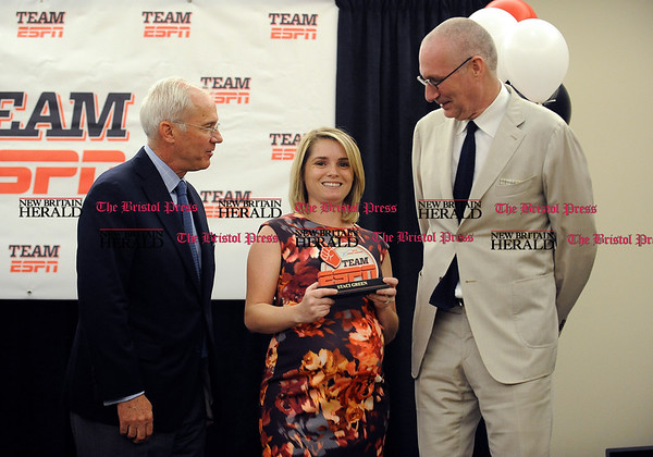 5/25/2016 Mike Orazzi | Staff 2016 Team ESPN V [The V Foundation] Spirit Award winner: Staci Green, Production with Ed Durso, Executive Vice President/Administration, and John Skipper, president and co-chairman of Disney Media Networks during the ESPN Volunteer of the Year Award ceremony in Bristol Wednesday.