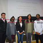 042617  Wesley Bunnell | Staff  A panel of CCSU students held a discussion as part of a larger students titled Stand Against Racism on Wednesday afternoon.  Joe Diaz, left, Shelby Williams,  ...