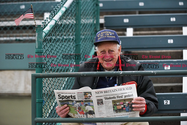 042617 Wesley Bunnell | Staff New Britain Bees vs Lancaster Barnstormers on Wednesday evening. Longtime New Britain baseball season ticket holder Al Nelson.