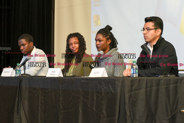042617 Wesley Bunnell | Staff A panel of CCSU students held a discussion as part of a larger students titled Stand Against Racism on Wednesday afternoon. Accounting major Kelly Turner, left, Kaylah Gore, Shelby Williams and Jose Diaz sit next to moderator Shihani Ghazi.