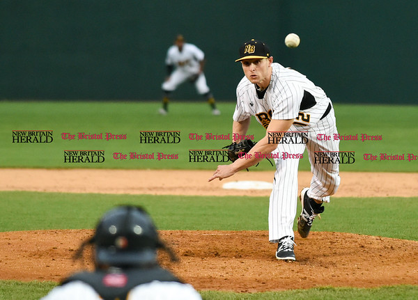 042617 Wesley Bunnell | Staff New Britain Bees vs Lancaster Barnstormers on Wednesday evening. Anthony Marzi (12)