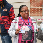 042617  Wesley Bunnell   Staff  Adriene Lauray speaks to members of the media while wearing ID badges and a t-shirt with a photo of her daughter Yasheeka Miles outside of New Britain Superio ...