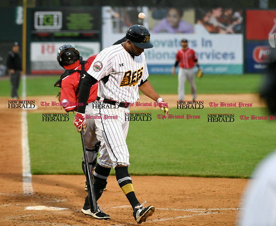 042617 Wesley Bunnell | Staff New Britain Bees vs Lancaster Barnstormers on Wednesday evening. Mike Crouse (10) walks off the field after striking out.