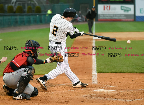 042617 Wesley Bunnell | Staff New Britain Bees vs Lancaster Barnstormers on Wednesday evening. Jake McGuiggan (2)