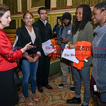 042617  Wesley Bunnell | Staff  CCSU Vice President Dr. Laura Tordenti speaks with the panel of CCSU students after their discussion on standing up to racism on Wednesday afternoon. Dr. Tord ...