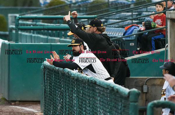 042617 Wesley Bunnell | Staff New Britain Bees vs Lancaster Barnstormers on Wednesday evening. The New Britain Bees bench reacts to a play by the outfield.