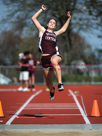 4/28/2017 Mike Orazzi | Staff Bristol Central's Erin Petke in the long jump during the Bristol Central Invitational Track Meet in Bristol Friday.